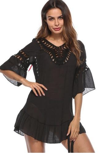 LYCKA black LTH4075-European Style Beach Casual Outer Dress-Black 1BAD1US13C6E42GS_1