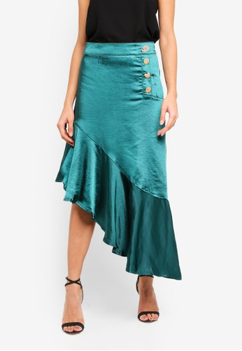 bYSI green Asymmetric Ruffle Skirt 99493AAEAD775CGS_1