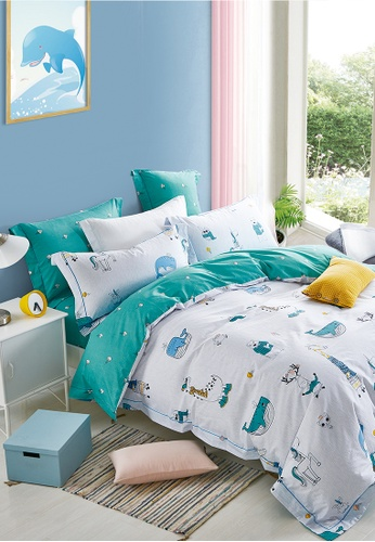 Epitex white and turquoise Epitex CK2031-4 900TC Cotton Bedsheet / Bedset (w quilt cover). 31E73HL057B587GS_1