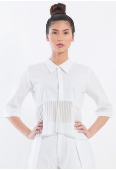 [PRE-ORDER] Cropped button down shirt with pleated chiffon trimming.