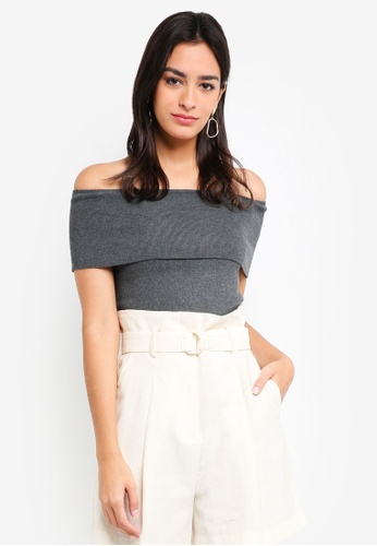 MDSCollections grey Overlay Cropped Top In Heather Grey EFFA6AA0773CEDGS_1