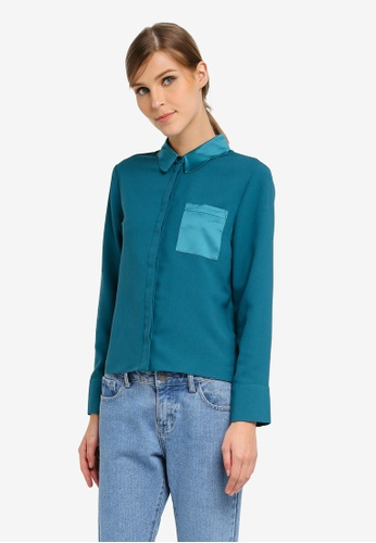 TOPSHOP green Scallop Collar Blouse TO412AA0SLBSMY_1