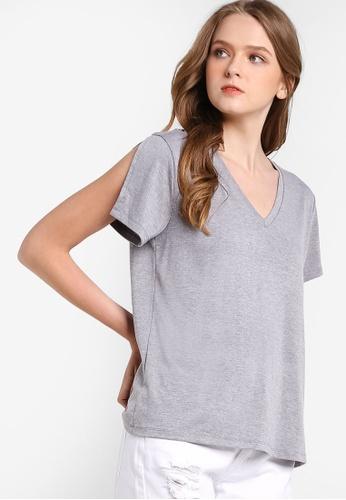 Something Borrowed grey Embroidered Slit Sleeve Tee 90BB9AAA166410GS_1