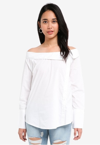 ONLY white Amanda Long Sleeve Off Shoulder Shirt 87564AA4083A83GS_1