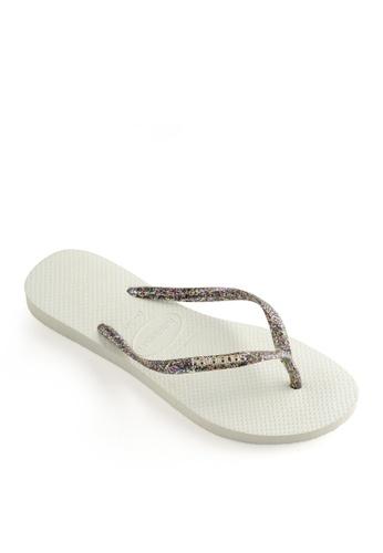 Havaianas white Slim Logo Metallic Flip Flops 573C3SHC248583GS_1