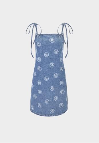 Pomelo blue Sustainable Logo Print Dress - Light Blue 2695BAA5834578GS_1