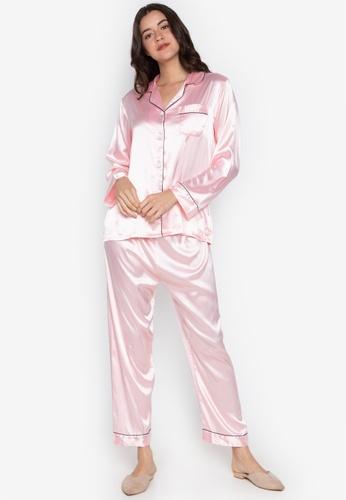 FEMINISM pink Longsleeve PJ Set 122C2AA99DD2F0GS_1