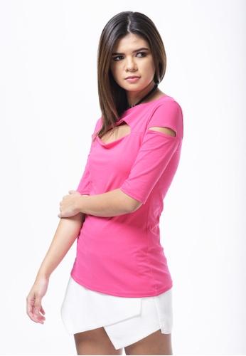 UNAROSA pink Cotton Jersey Top W/Cutouts 8FD72AA98E09EAGS_1