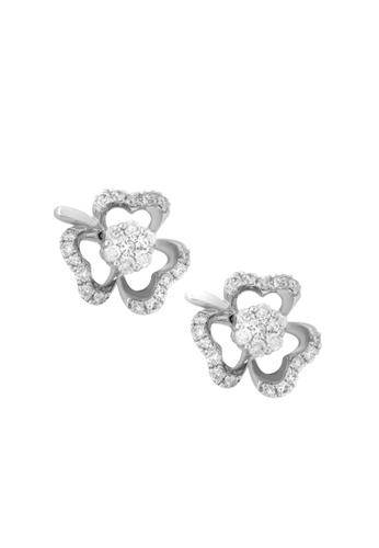 TOMEI white TOMEI Earrings in Clover-esque Enthrallment, Diamond White Gold 375 (E1318V) 949E3AC01F9DFEGS_1
