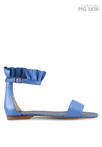 E8 by Miista 藍色 一字帶荷葉飾繞踝涼鞋 E8283SH0STIRMY_1