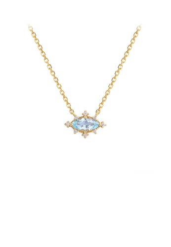 Glamorousky blue 925 Sterling Silver Plated Gold Simple and Fashion Geometric Blue Topaz Pendant with Cubic Zirconia and Necklace 51441ACEF355C8GS_1