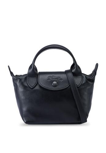 LONGCHAMP black Le Pliage Cuir Top Handle Bag XS (nt) 2A527ACB7A6B09GS_1