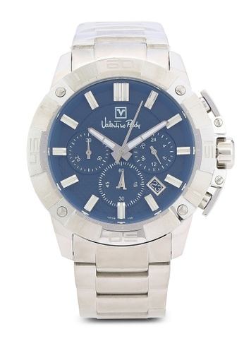 Valentino Rudy silver VR100-1382 46mm Silver and Blue Watch VA909AC0RBJQMY_1