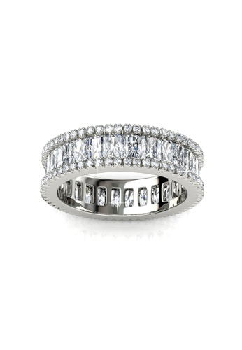 Her Jewellery silver Swarovski® Crystals - Glamour Lock Ring (White Gold) - (18K White Gold Plated) Her Jewellery HE581AC0RDOSMY_1