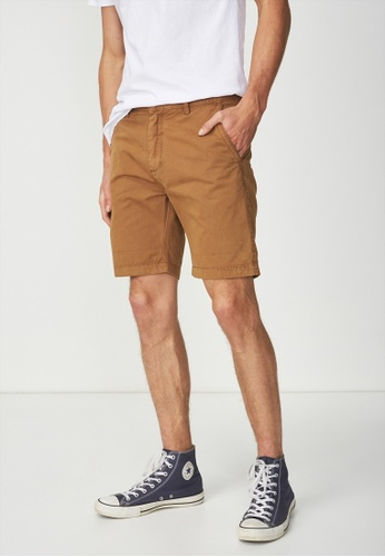 Cotton On brown Washed Chino Short 9D21CAA36DF803GS_1