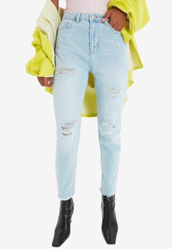 Trendyol blue High Waist Ripped Mom Jeans 73E14AA65C2B1FGS_1