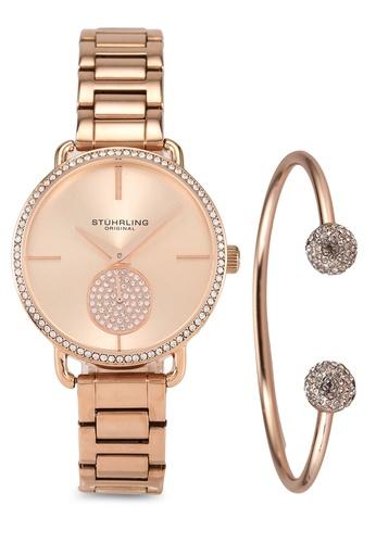 Stuhrling Original pink and gold Astraea 3909 Quartz Watch & Bracelet Set 7CD9EAC6882CDBGS_1