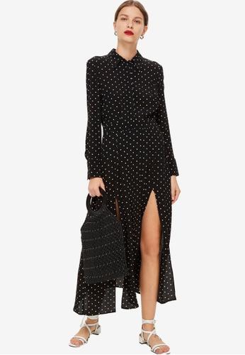 TOPSHOP black Spot Pleat Shirt Dress 7D59FAA77424D4GS_1
