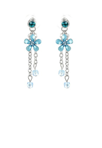 Glamorousky blue Blue Flower Earrings with Blue Austrian Element Crystals E8FFEAC476445CGS_1