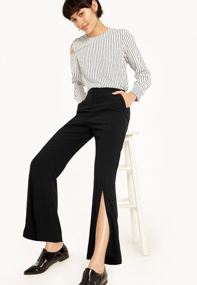 Carter Slit Flared Pomelo Black Side Pants Black dgwRgBZqT