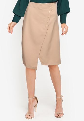 ZALORA WORK brown Asymmetric Wrap Skirt 5BFF4AAB5AA1FDGS_1