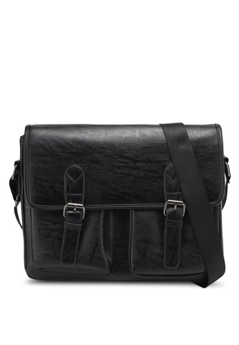 ZALORA black Messenger Bag With Front Pocket Detail 98ABEZZ517FCE3GS_1
