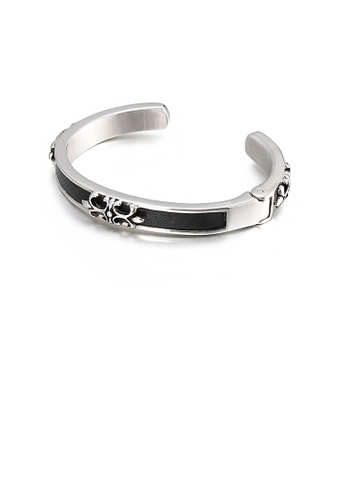 Glamorousky silver Fashion Personality Crusader Flower 316L Stainless Steel Open Bangle 9637CAC5CA83FBGS_1