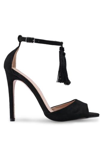 Public Desire 黑色 流蘇繞踝高跟鞋 4CF7ASHD92ABB3GS_1