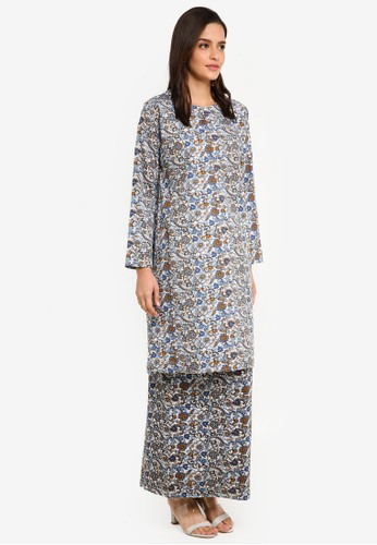 Gene Martino white and blue Floral Cotton Kurung B21F2AA848D3ECGS_1