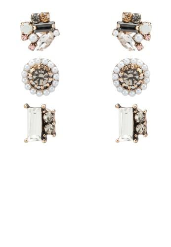 Taussi 三入閃石耳環組、 飾品配件、 飾品配件ALDOTaussi三入閃石耳環組最新折價