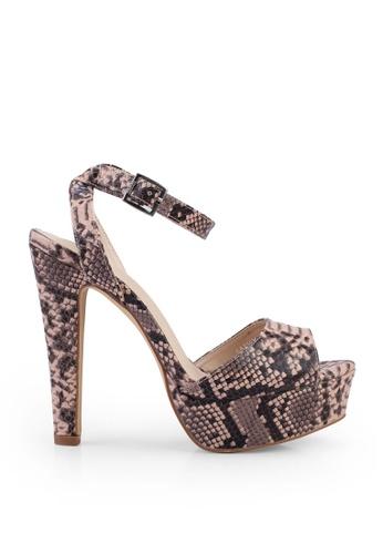 nose pink Snake Print Heel Sandals 9849BSH1A50F38GS_1