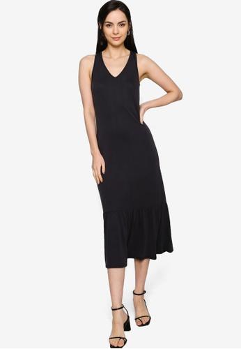 Origin by Zalora black Ruffle Hem Dress made from TENCEL™ 9FFA8AA82BDA94GS_1