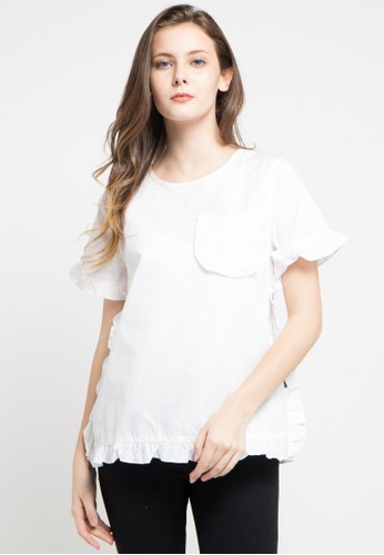 Point One white VIOLIN Frill Blouse PO706AA0VAJHID_1