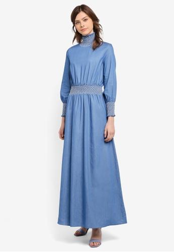 Zalia blue Smocked High Neck Dress BBDBBAA86F37F5GS_1