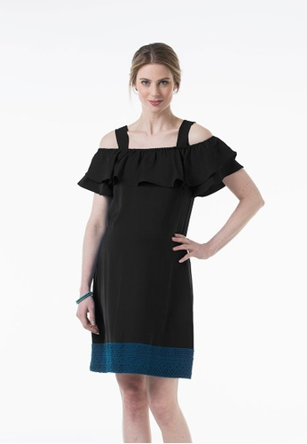 Bove by Spring Maternity black Woven Short Sleeved Clia Off Shoulder Dress Black 31740AA2BC1A30GS_1