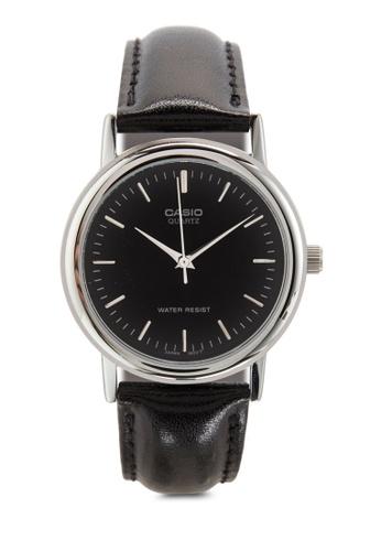Casio black Black Leather Analog Watch MTP-1095E-1ADF CA843AC37MICMY_1