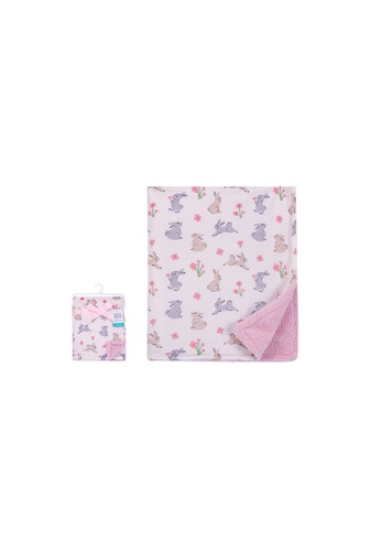Little Kooma pink Print Mink Blanket With Sherpa Back Bunny 53920CH 595AAKCA9B628AGS_1
