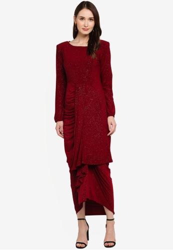 Zuco Fashion red Mini Kurung Mermaid with Ruffles & Pario Style Skirt 46647AA398BB4BGS_1