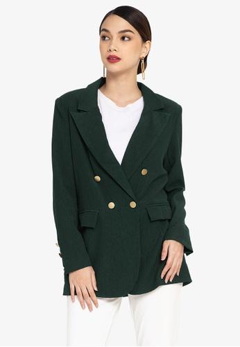 ZALORA OCCASION green Textured Longline Blazer 27748AA58D91ABGS_1