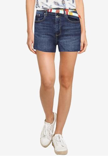 Springfield blue Multicoloured Denim Shorts With Belt B8565AA1E72E25GS_1