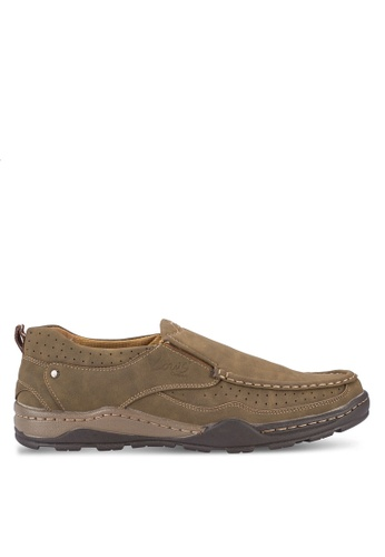 Louis Cuppers brown Stitch Detail Loafers LO977SH24AXJMY_1
