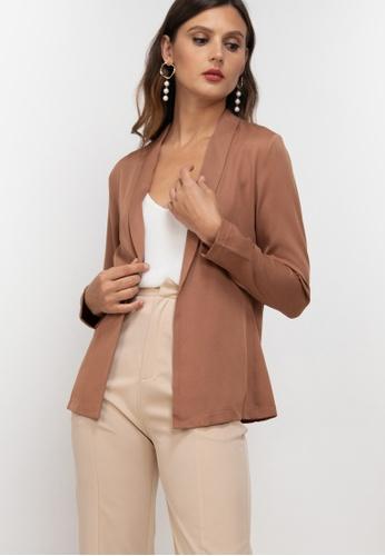 ZALORA WORK brown Shawl Collar Blazer A60DEAAE6315CFGS_1