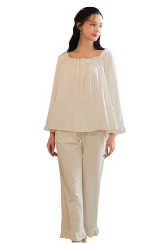 LYCKA white LML1291-Lady Casual Pajamas Two Pieces Set-White 4D0EBAA27F4188GS_1