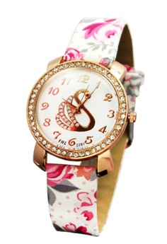 FHL Golden Swan Women's Floral Leather Strap Watch 2281