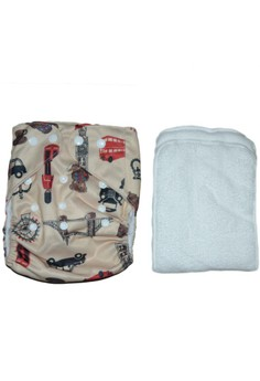 Printed Cloth Diaper with 2 inserts - Vehicle