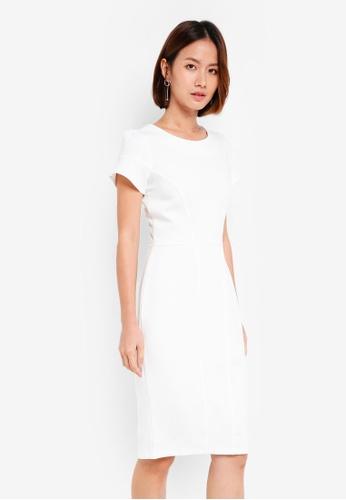 CLOSET white Panelled Pencil Dress 5EB65AA20EEB40GS_1