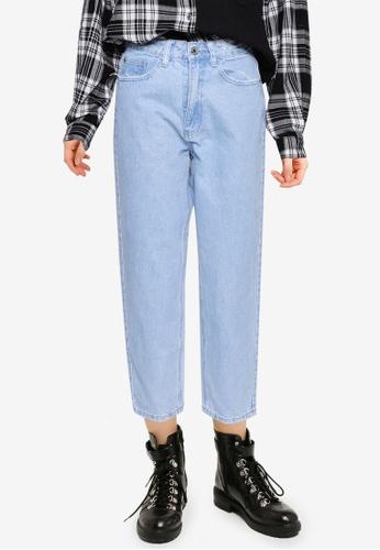 MISSGUIDED 藍色 Petite Riot Distress Mom 牛仔褲 E6B45AA0224517GS_1