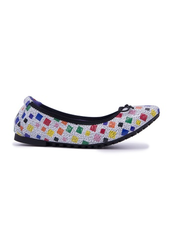 Flatss & Heelss by Rad Russel white and multi Multi Square Print Flats - White 4D769SH60523B2GS_1