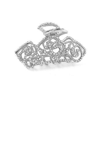Glamorousky silver Elegant Rose Hair Clamp with Silver Austrian Element Crystal FE8B8ACF68FBD5GS_1