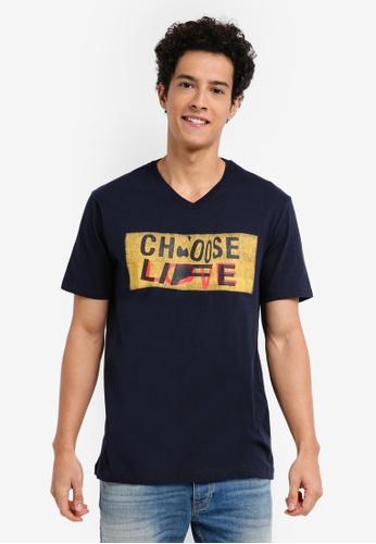 United Colors of Benetton 藍色 CHOOSE LIFE 短袖T恤 360FDAAA61B0FDGS_1